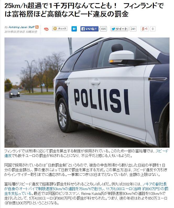フィンランドスピード違反反則金